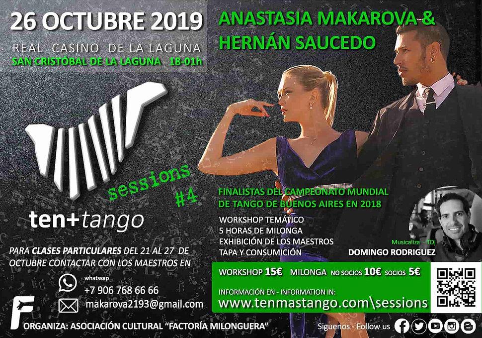 Tenerife Canarias TEN+TANGO SESSIONS #4  Sábado 26 de Octubre de 2019  Real Casino de La Laguna  Anatasia Makarova (Rusia)y Hernán Saucedo ( Argentina)  Finalistas Mundial de Tango 2018.  