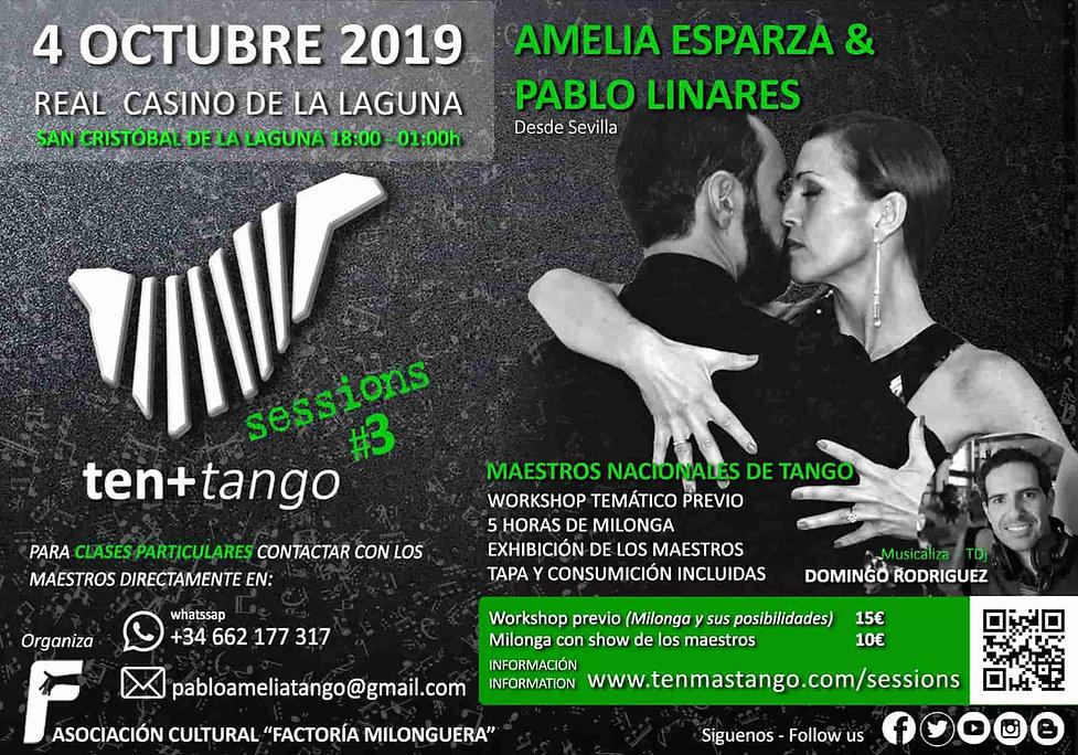 Canarias Tenerife TEN+TANGO SESSIONS #3  Viernes 4de Octubre de 2019  Real Casino de La Laguna  Amelia Esparzay Pablo linares ( Sevilla / España )  