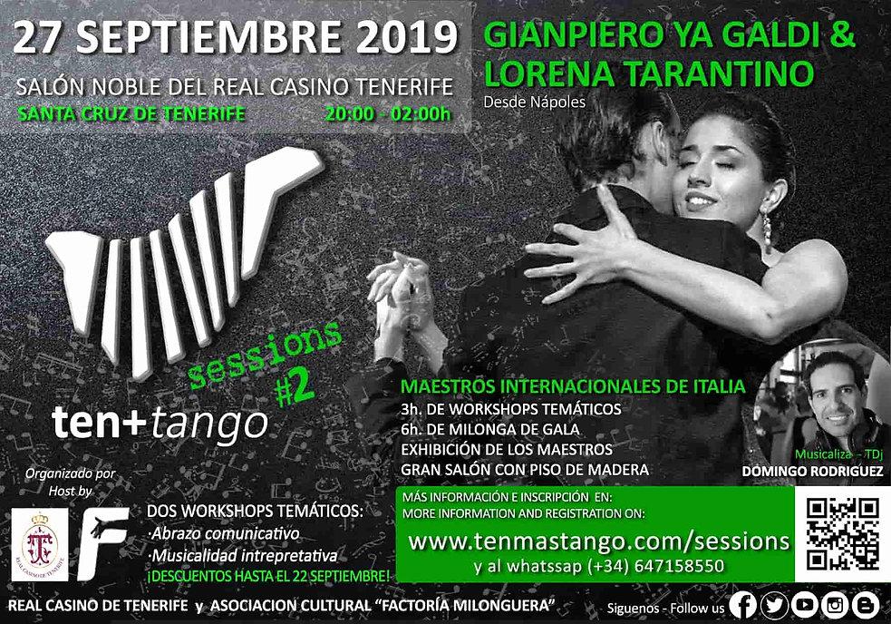 Canarias Tenerife TEN+TANGO SESSIONS #2  Viernes 27de Septiembrede 2019  Real Casino de Tenerife  Gianpiero Galdi y Lorena Tarantino ( Nápoles / Italia)  
