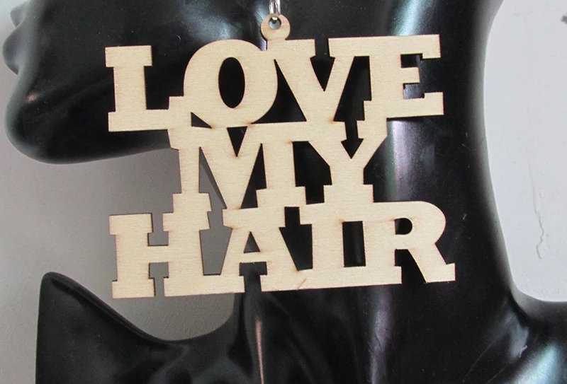 Love My Hair Wooden Earrings