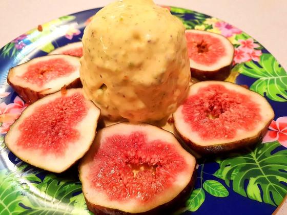 A scoop of saffron ice cream