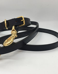 Hand-stitched, leather lead - Navy Blue