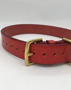 Hand-made classic British dog collar - Pillarbox Red