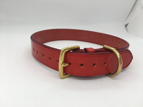 Hand-made classic British dog collar - Pillarbox Red