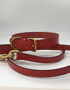 Hand-stitched, leather lead - Pillarbox Red