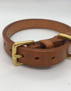 Hand-made classic British dog collar - Honey