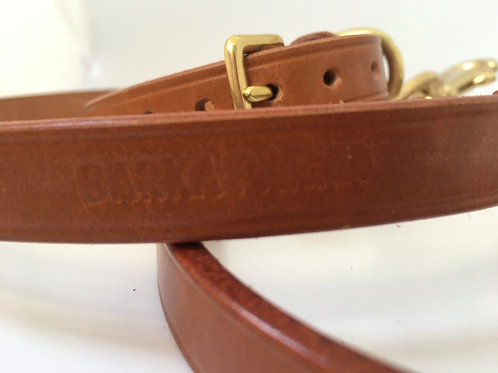 Hand-stitched, leather lead - Honey