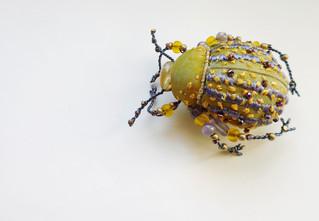 scarabée jaune et mauve