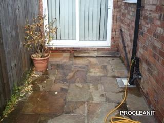 Patio door area before cleaning