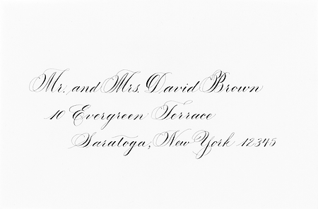 Copperplate wedding calligraphy, orange county, new york