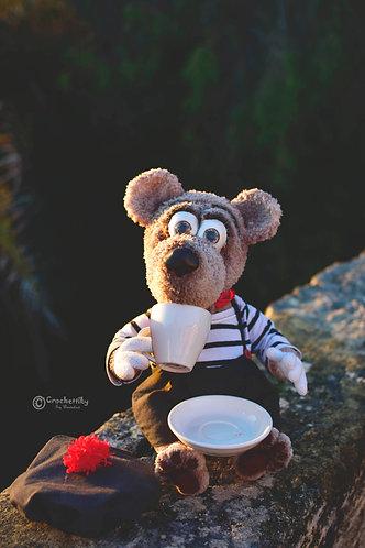Handmade art toy Bear Marceau