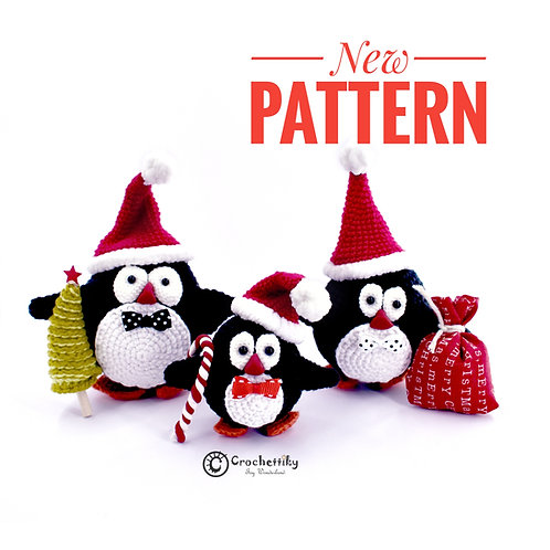Crochet Pattern Christmas Penguins
