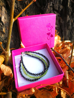 Olivín & černý Spinel - trojitý náramek