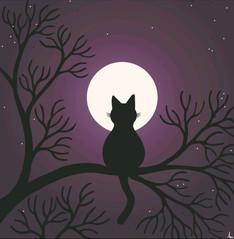 Moonlight Cat Postcard