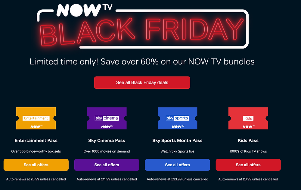 Enjoy NOW TV This Christmas With Up-To 60% Off!