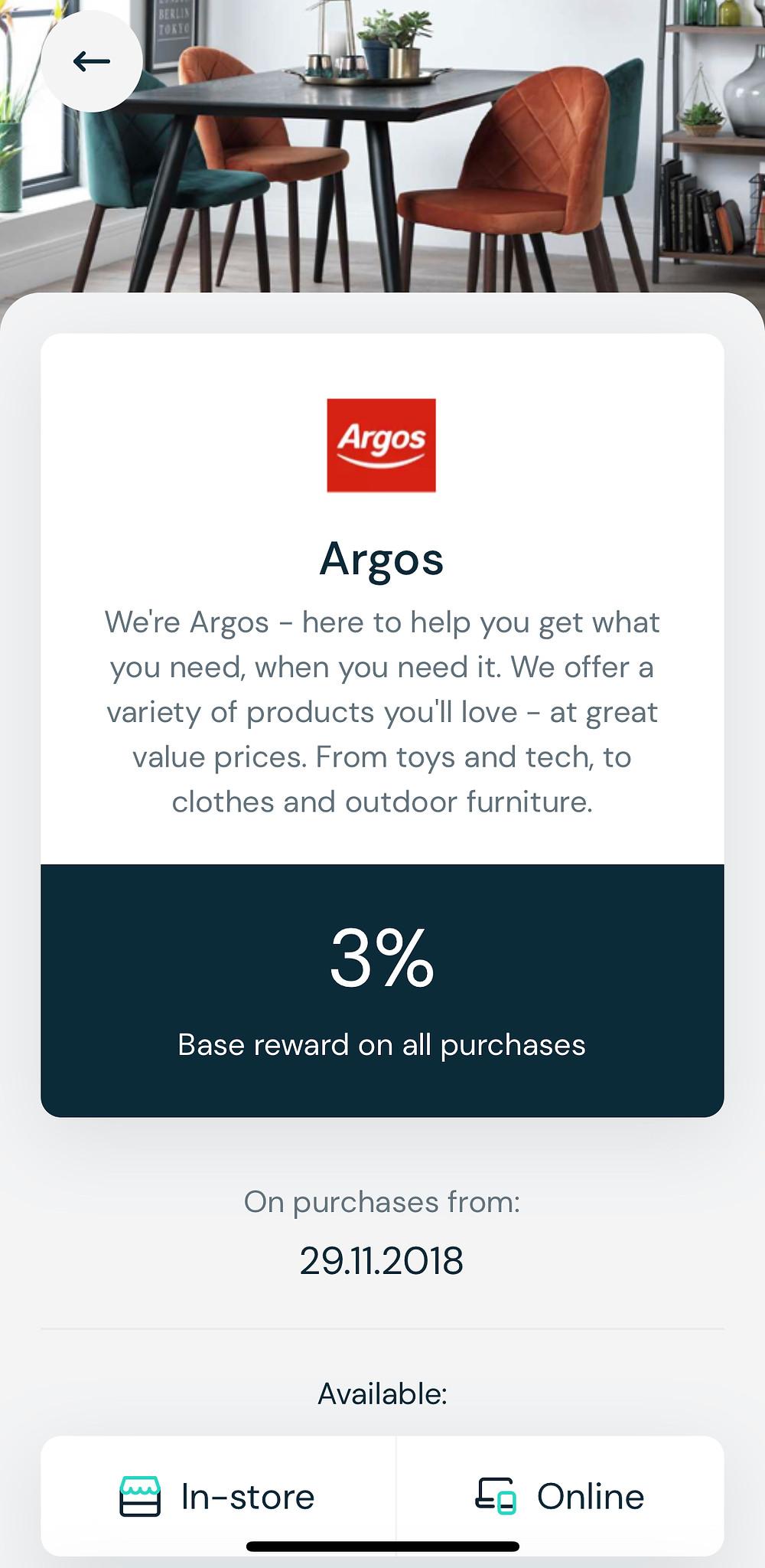 Argos 3% cash back via Airtime Rewards