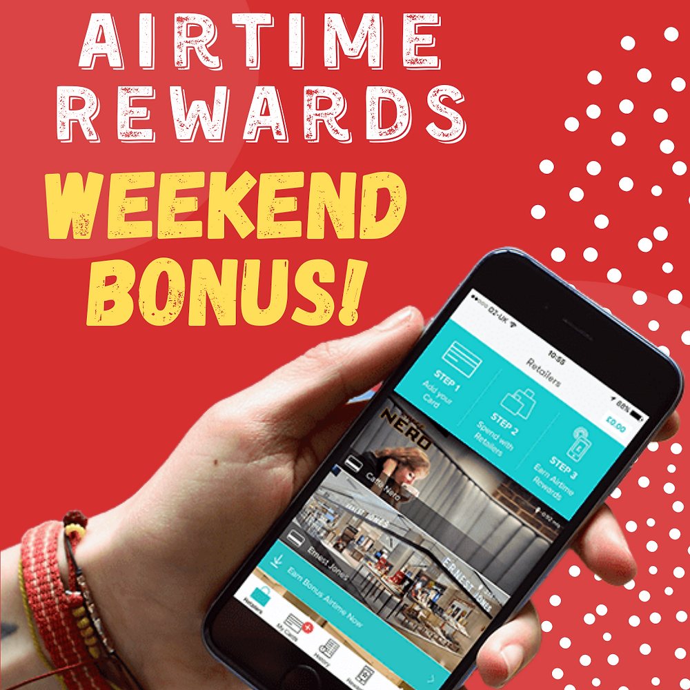 THIS WEEKEND Airtime Rewards users can get a special £2 bonus, when they spend £25 or more at a partnered retailers!