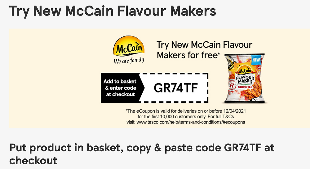 Grab a free bag of McCain Flavour Maker Fries, from Tesco