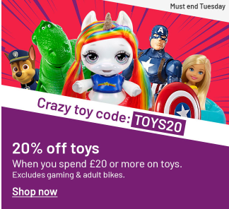 20% off toys, when you spend £20 or more in Argos
