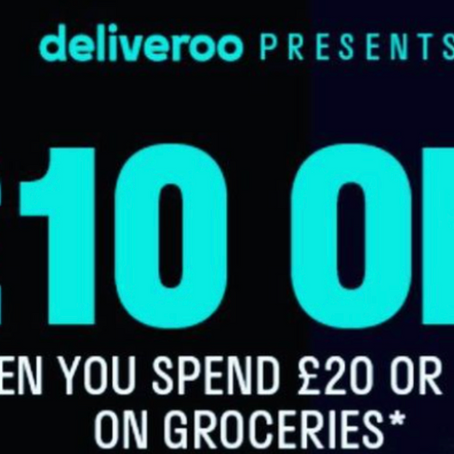 £10 Off a £20 Grocery Purchase Via Deliveroo