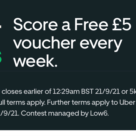 Grab a Free £5 Uber Eats Voucher: Weekly 7 Is Back!