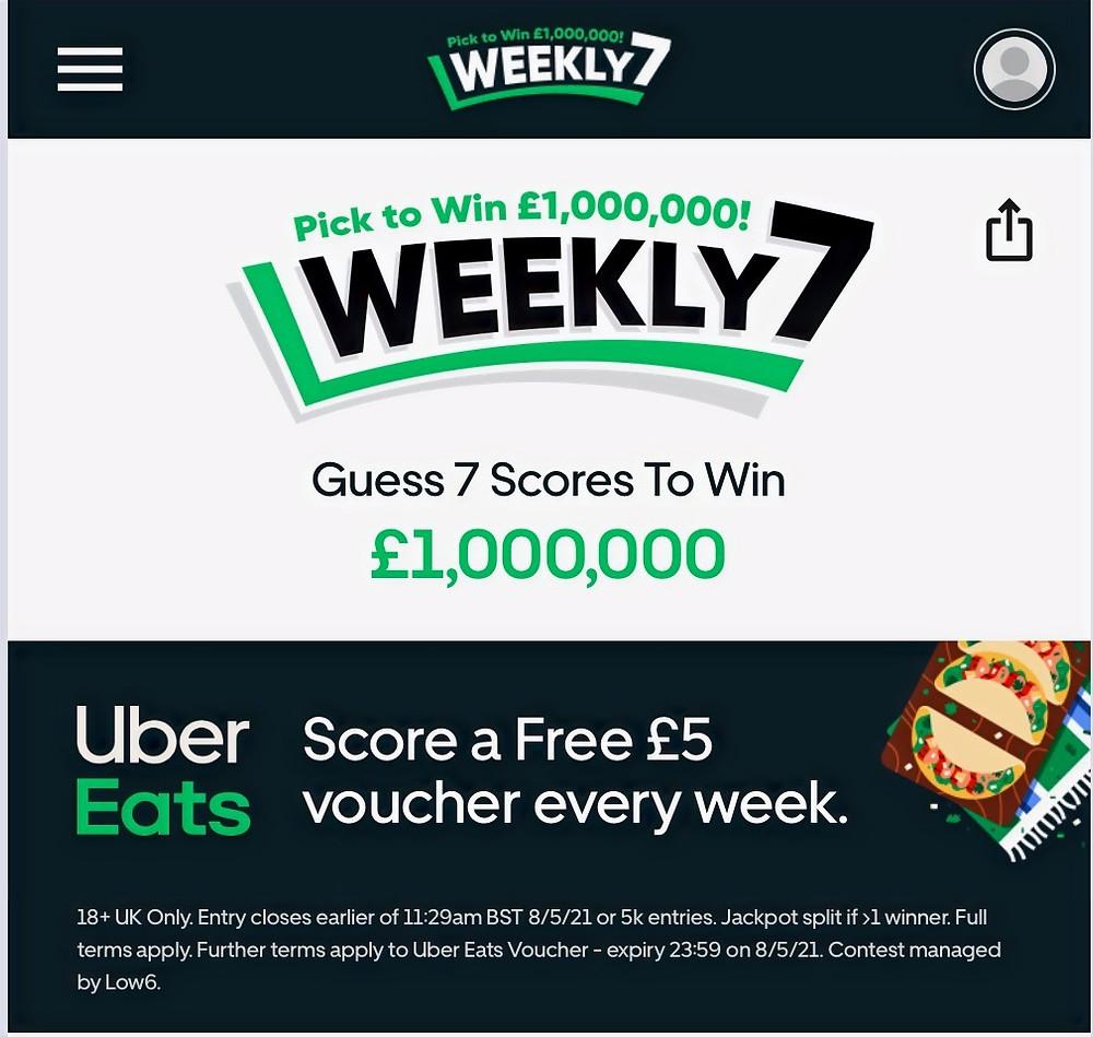 Weekly 7 - Free £5 Uber Eats Voucher Weekly!