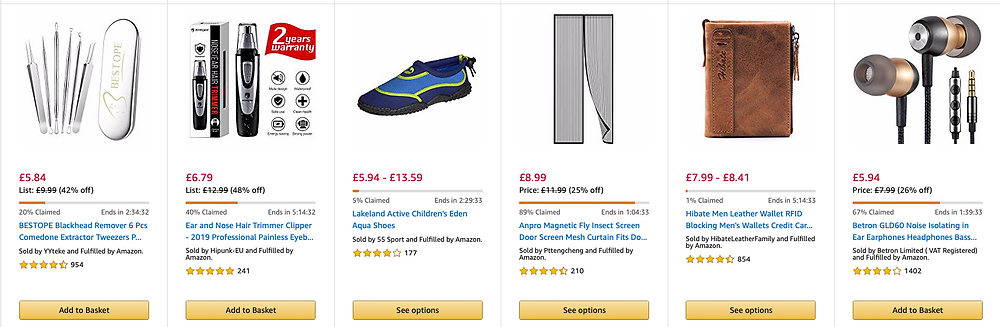 Example of an Amazon Lightning Deal page