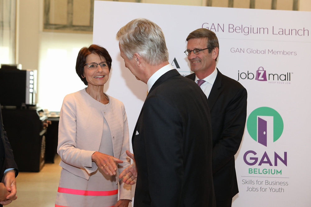 EU commissioner Marianne Thyssen and Philippe of Belgium at the GAN Belgium launch