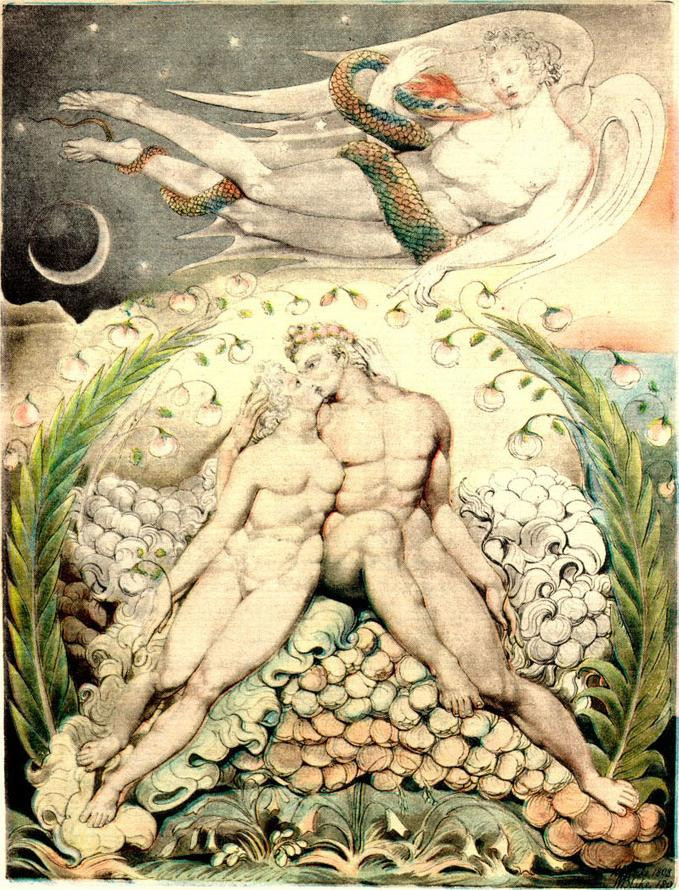 """""""Satan Watching the Caresses of Adam & Eve"""" by William Blake [Public domain]"""