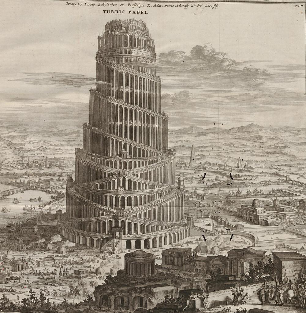Turris Babel by Athanasius Kircher