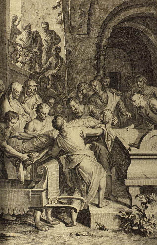 illustrators of the 1728 Figures de la Bible, Gerard Hoet (1648-1733) and others, published by P. de Hondt in The Hague in 1728 [Public domain]