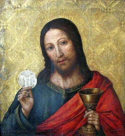 This shows a traditional icon of Jesus, demonstrating the influence of theology on Bible Art.