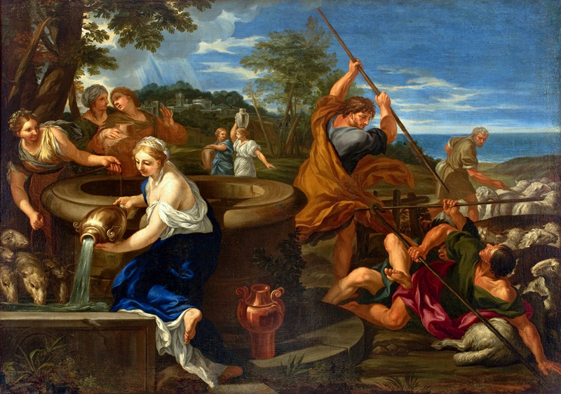 This Bible Art depicts Moses saving the daughters of Jethro at a well, a trope common in the culture of the Bible.