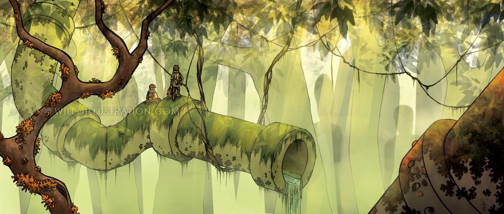 Tuyau et forêt