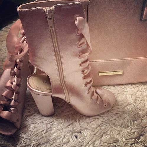 Sexy Pink Satin Ankle Boot - Size 6.5