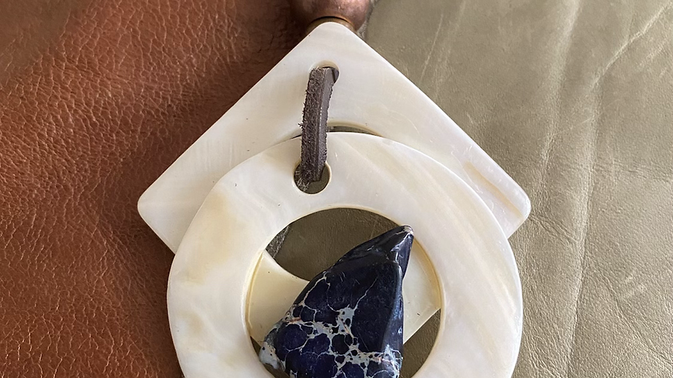 My Way Blue Agate Stone Sea Shell Leather Necklace