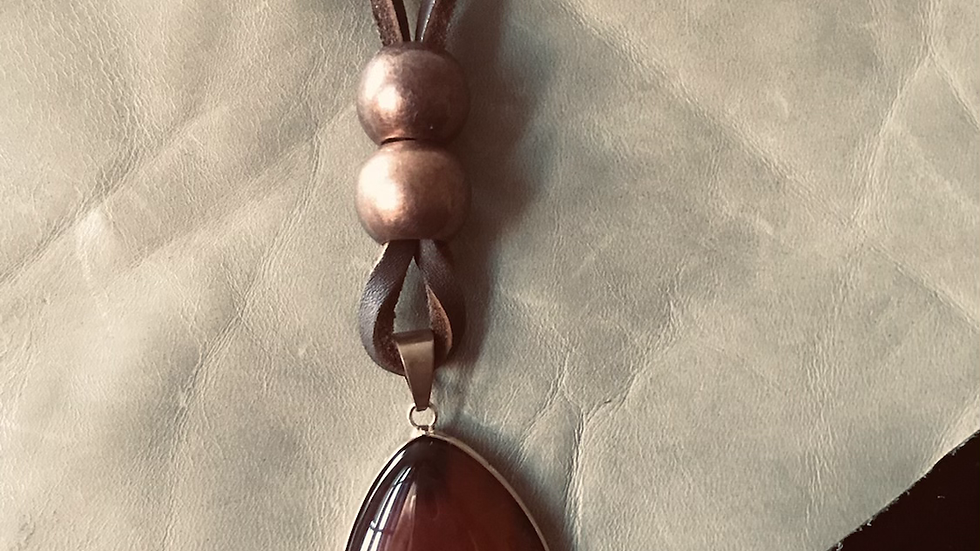 Brown Agate Stone Leather Necklace