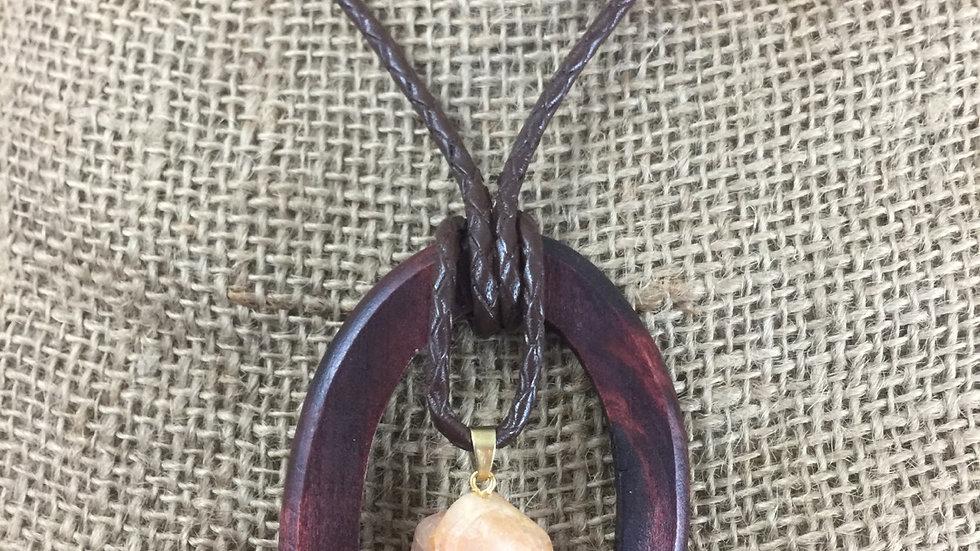 Wood Rock Stone Necklace