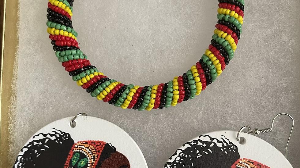 African Designed Earrings and Bracelet Box Set