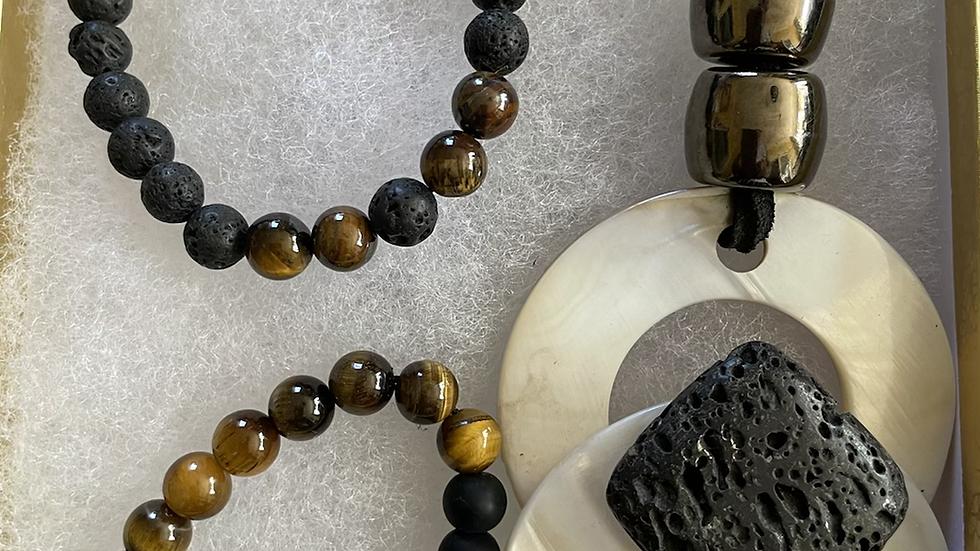 Lava Rock Necklace and Bracelet Box Set