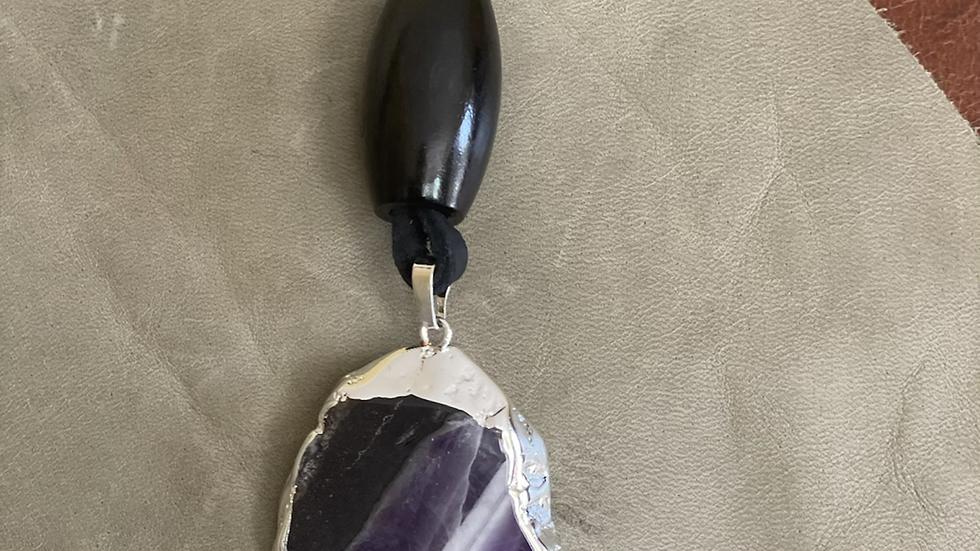 Purple-Black Marble Agate Stone Necklace