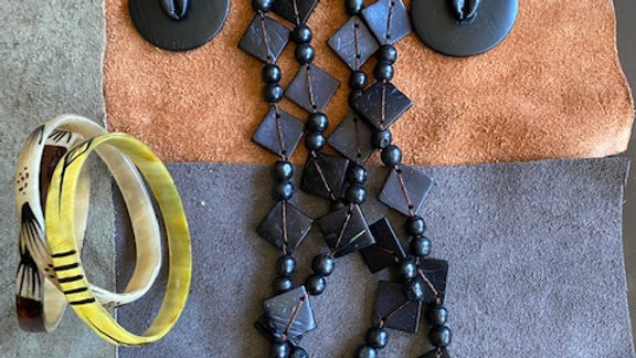 Black Wooden Necklace and Earring Set