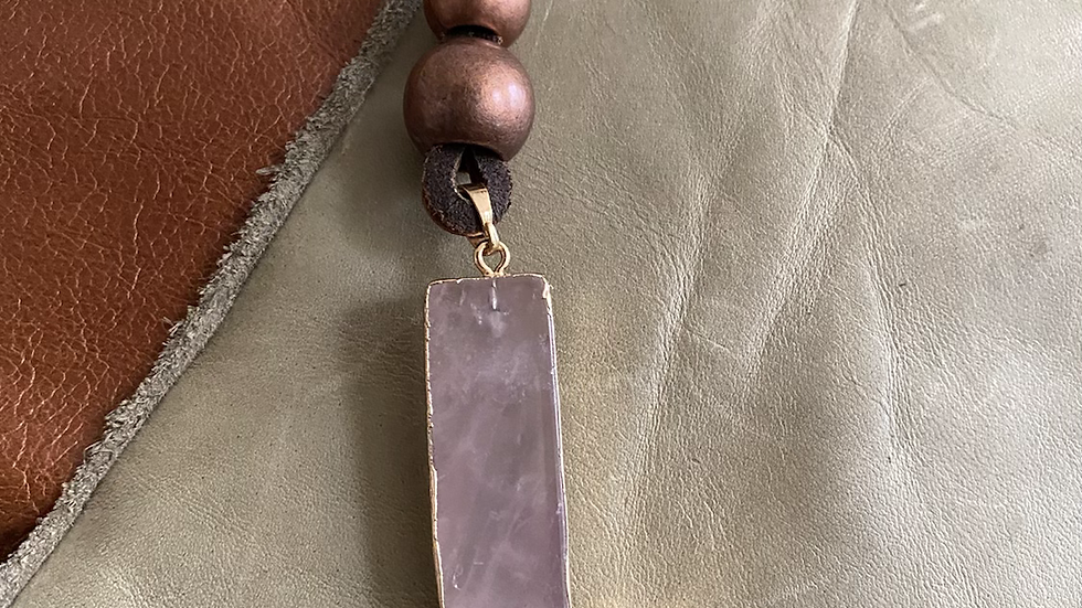 Hanging Around Purple Amethyst Stone Leather Necklace