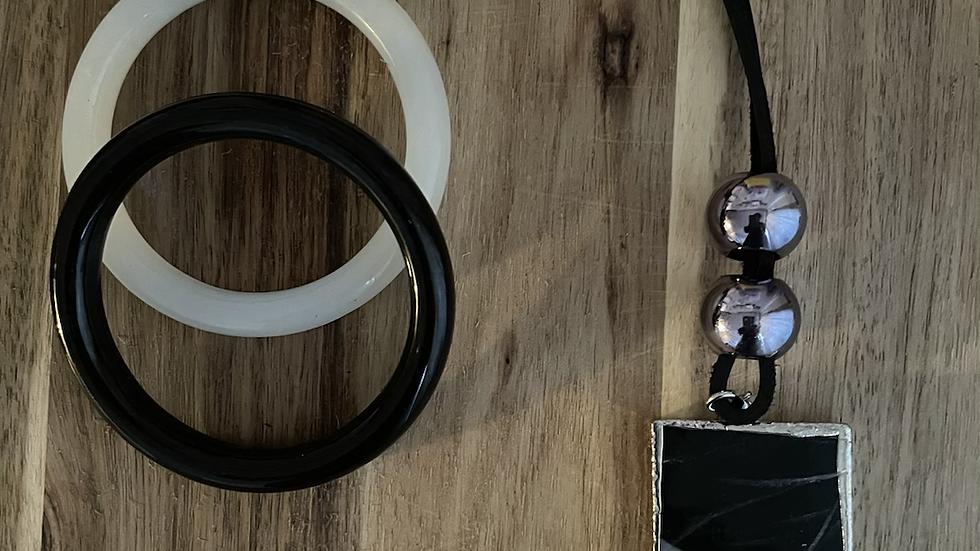 Black Marble Agate Necklace Set