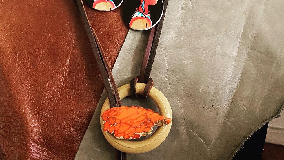 Orange Agate Stone Leather Necklace Set