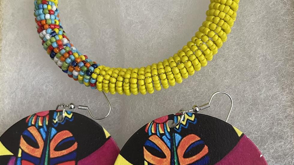 Modern African Designed Earrings and Bracelet Box Set