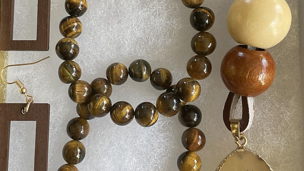 Tiger's Eye Bracelet and Necklace Box Set
