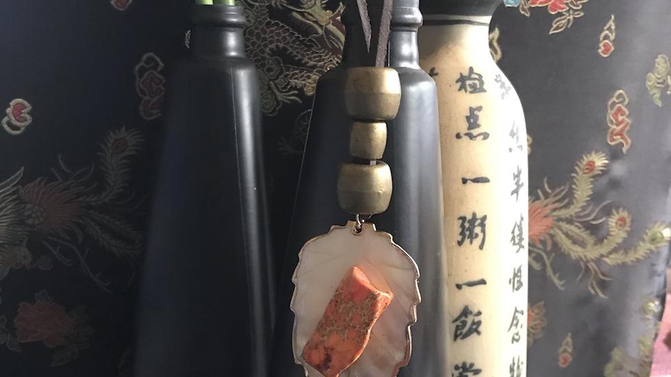 Orange Leaf Agate Stone Leather Necklace