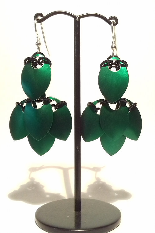 Emerald Green Leaf Scalemaille Earrings