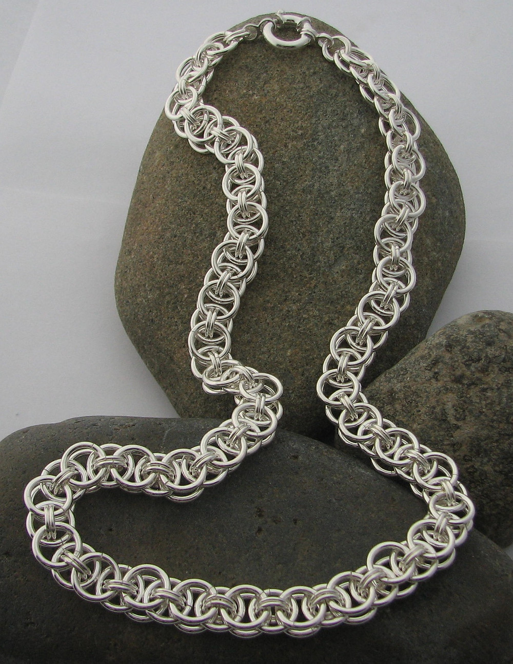 Helmsweave chainmail sterling silver necklace